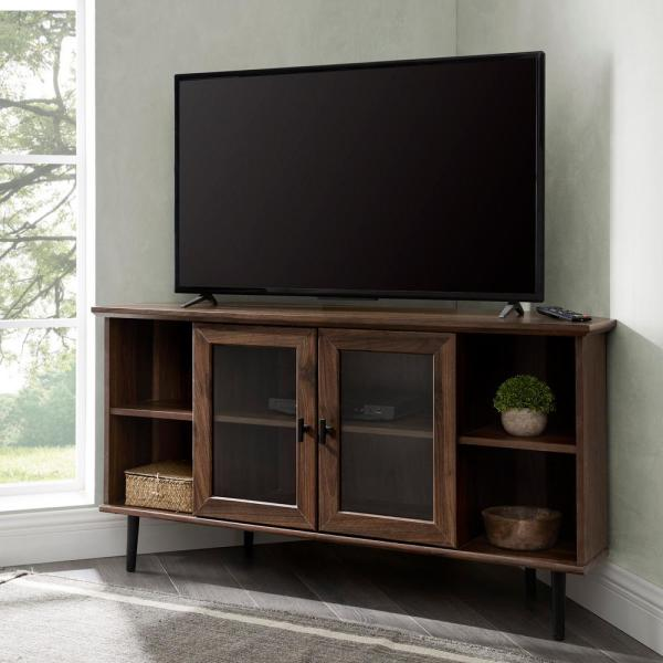 48 in. Dark Walnut Composite Corner TV Stand Fits TVs Up to 52 in. with Storage Doors