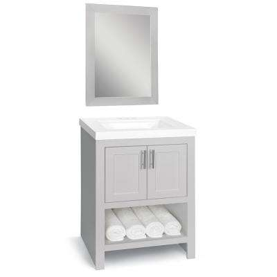Spa 24 in. W x 18.75 in. D Bath Vanity in Dove Gray with Cultured Marble Vanity Top in White with White Sink and Mirror