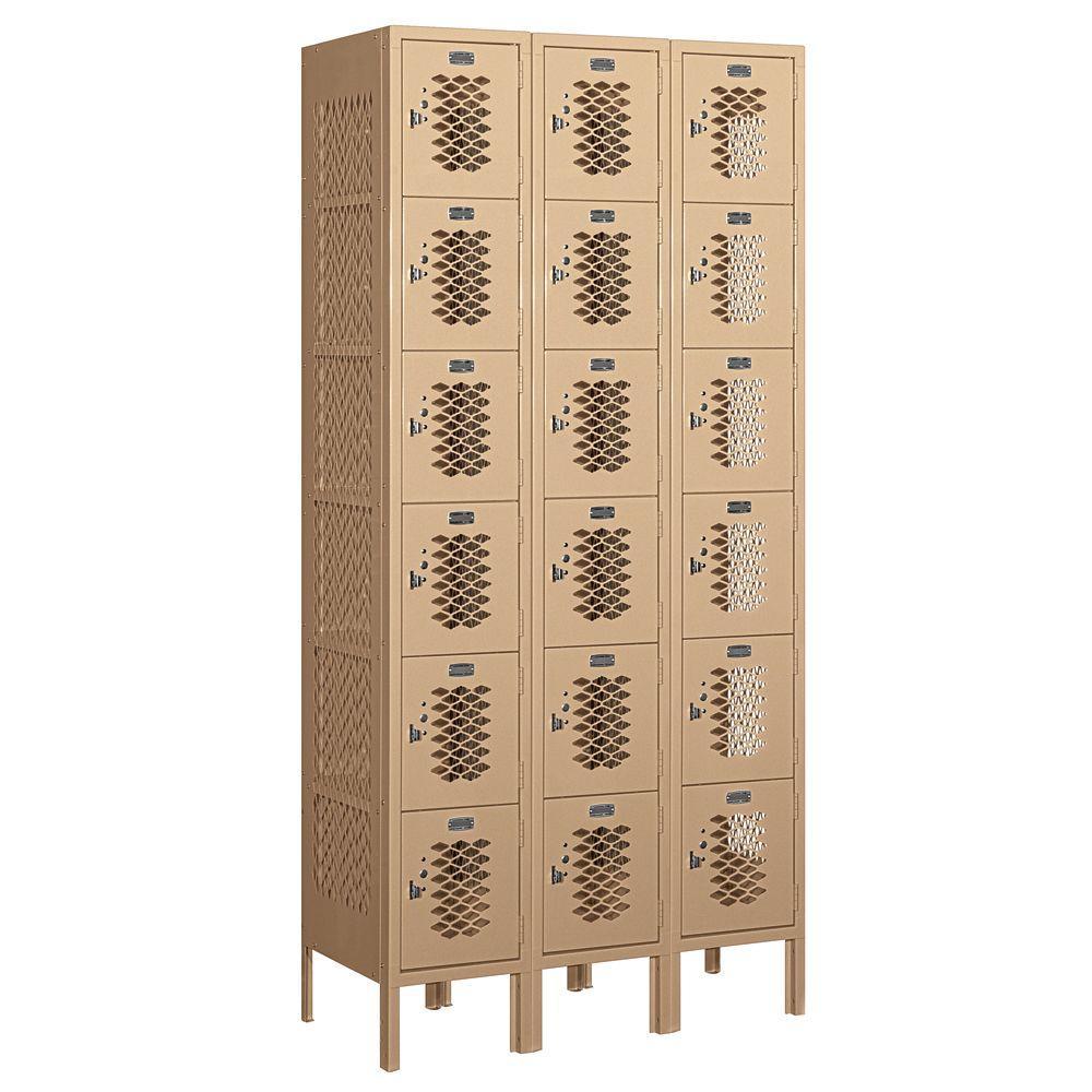 76000 Series 36 in. W x 78 in. H x 15 in. D Six Tier Box Style Vented Metal Locker Unassembled in Tan