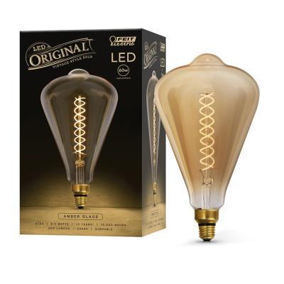 60W Equivalent ST52 Dimmable LED Amber Glass Vintage Edison Oversize Light Bulb With Spiral Filament Soft White (3-Pack)