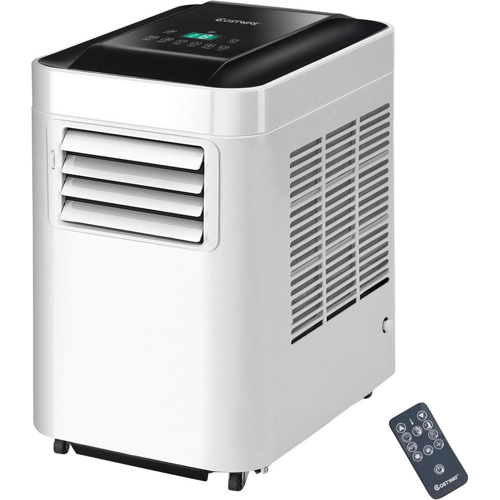 Costway 10000 Btu Portable Air Conditioner Ac Unit And Dehumidifier Lcd In White With Remote Control Ep23475 The Home Depot