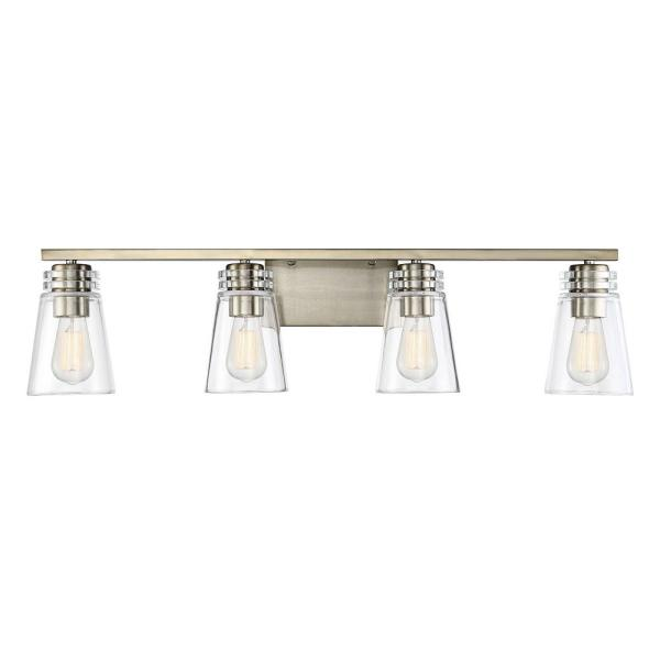 4-Light Noble Brass Bath Vanity Light with Clear Glass
