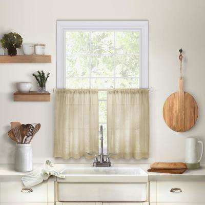 Cameron 30 in. W x 36 in. L Linen Kitchen Tiers in Linen (Set of 2)
