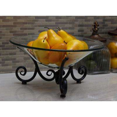 8 in. x 17 in. Round Glass Bowl with Curled Iron Stand
