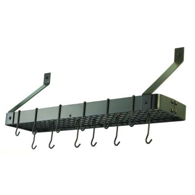 36.25 in. x 9 in. x 11.5 in. Oiled Bronze Bookshelf Rack with Grid and 12 Hooks