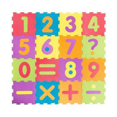 2-Sided Multicolor and Gray Numbers 12 in. x12 in. Play Mat (16-Pack)