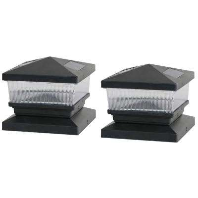 Solar Black Post Cap with 6 in. x 6 in. Adapter (2-Pack)