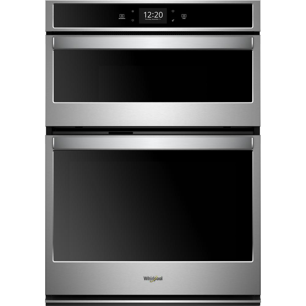 Whirlpool 27 In Electric Smart Convection Wall Oven With Built Microwave Touchscreen Stainless Steel