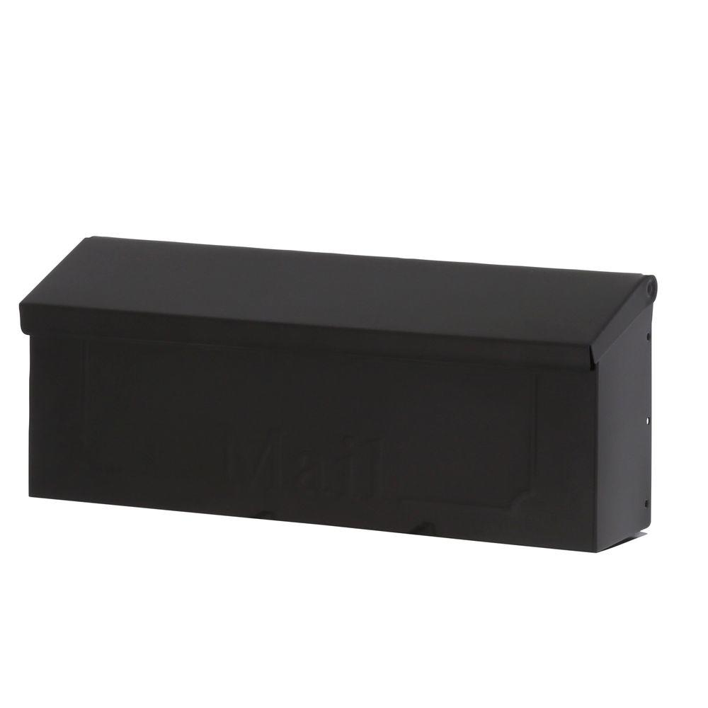 Townhouse Black Steel Horizontal Wall-Mount Mailbox