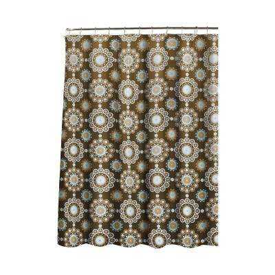 Oxford Weave Textured 70 in. W x 72 in. L Shower Curtain with Metal Roller Rings in Morrocan Tile Chocolate