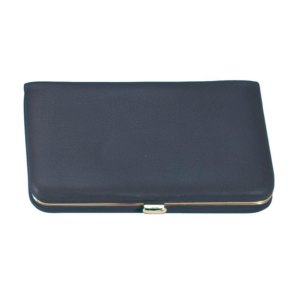 Genuine Leather Framed Business Card Case Wallet, Blue