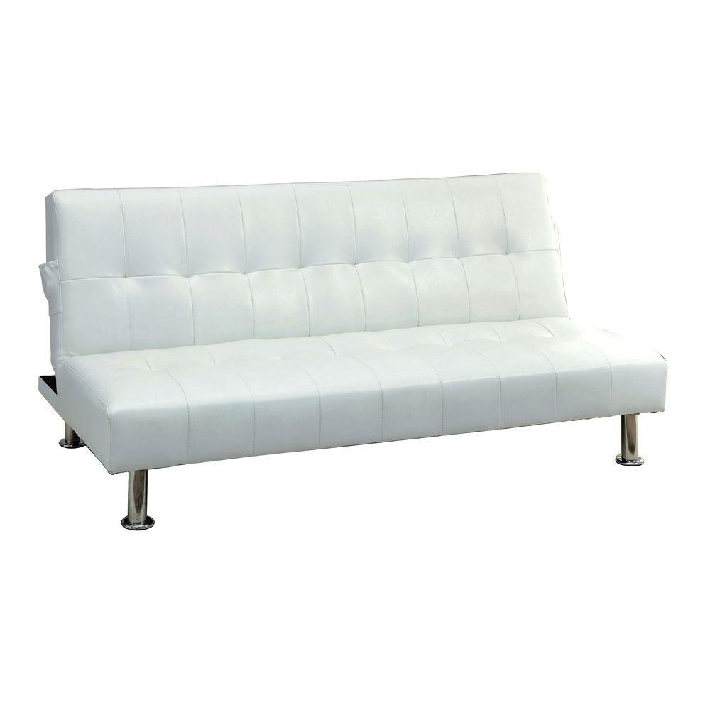 Bulle White Leatherette Futon