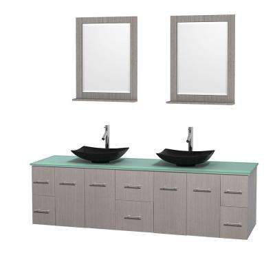 Centra 80 in. Double Vanity in Gray Oak with Glass Vanity Top in Green, Black Granite Sinks and 24 in. Mirrors
