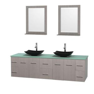 Wyndham Collection Centra 80 inch Double Vanity in Gray Oak with Glass Vanity Top in Green, Black Granite Sinks and 24... by Wyndham Collection