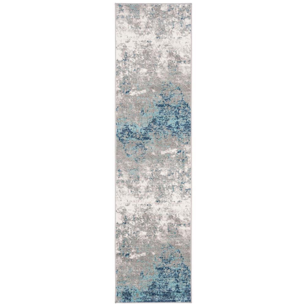 Brentwood Light Gray/Blue 2 ft. x 8 ft. Runner Rug
