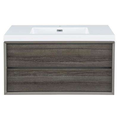 Garivaldi 36 in. W x 18 in. D Vanity Cabinet in Grey Oak with Engineered Stone Vanity Top in White with White Sink