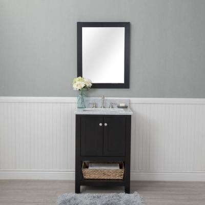 Wilmington 24 in. W x 22 in. D Vanity in Espresso with Marble Vanity Top in White with White Basin and Mirror