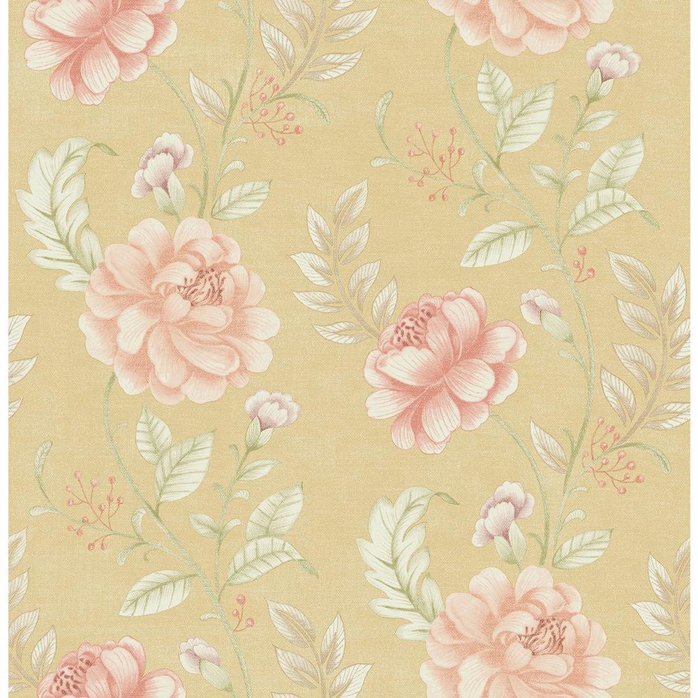 Brewster Ellie Gold Jacobean Wallpaper Sample