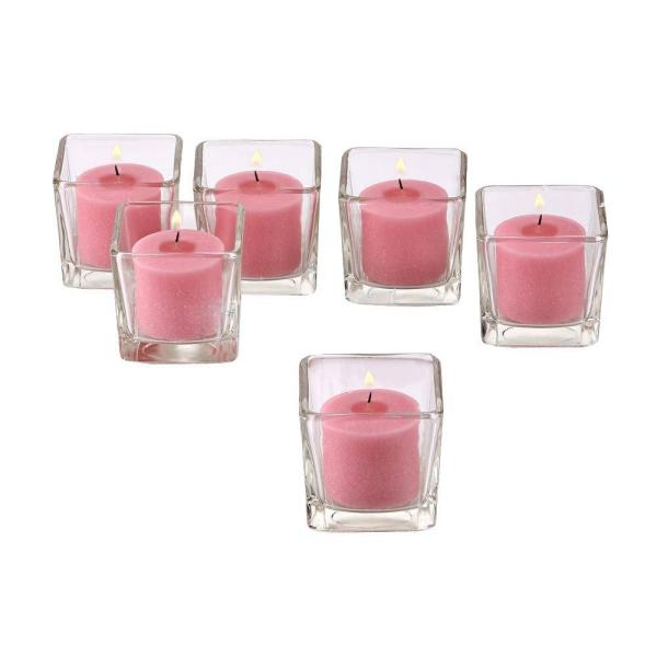 Clear Glass Square Votive Candle Holders with Soft Pink Votive Candles (Set of 12)