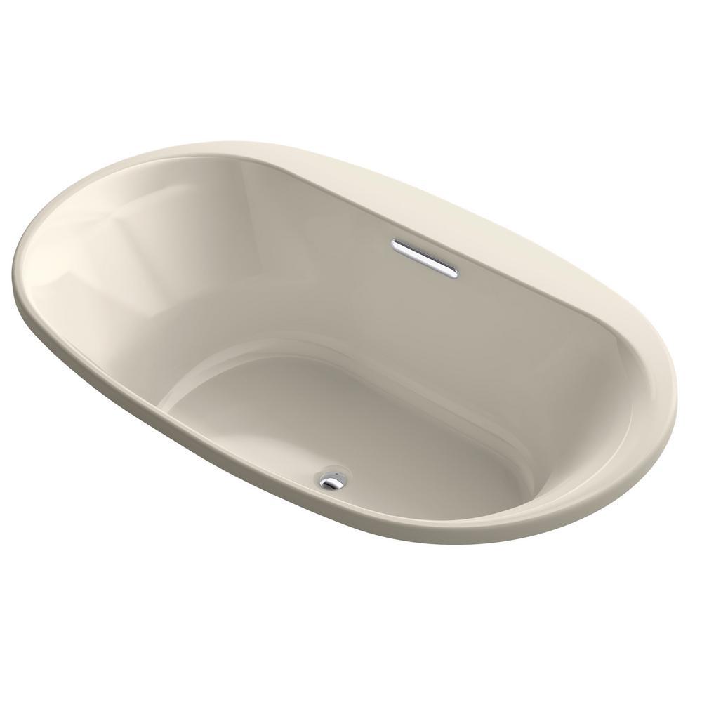 Underscore 6 ft. Acrylic Oval Drop-in Non-Whirlpool Bathtub in Almond