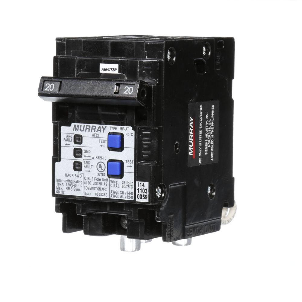 murray 20 amp double-pole type mp-at combination afci circuit breaker