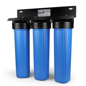 ISPRING 3-Stage Whole House Water Filtration System w/ 20x4.5 inch Big Blue Multi-Layer Sediment and Premium Carbon Block Filters by ISPRING