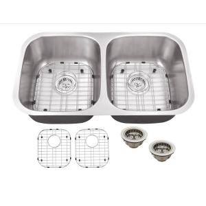 Schon All-in-One Undermount Stainless Steel 32 inch Double Bowl Kitchen Sink by Schon