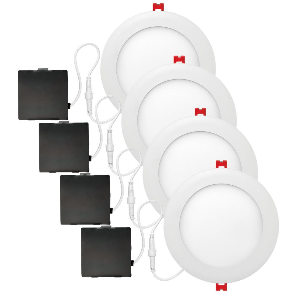 Globe Electric Ultra Slim Designer 6 in. 4000K White New Construction and Remodel Recessed Integrated LED Kit (4-Pack)