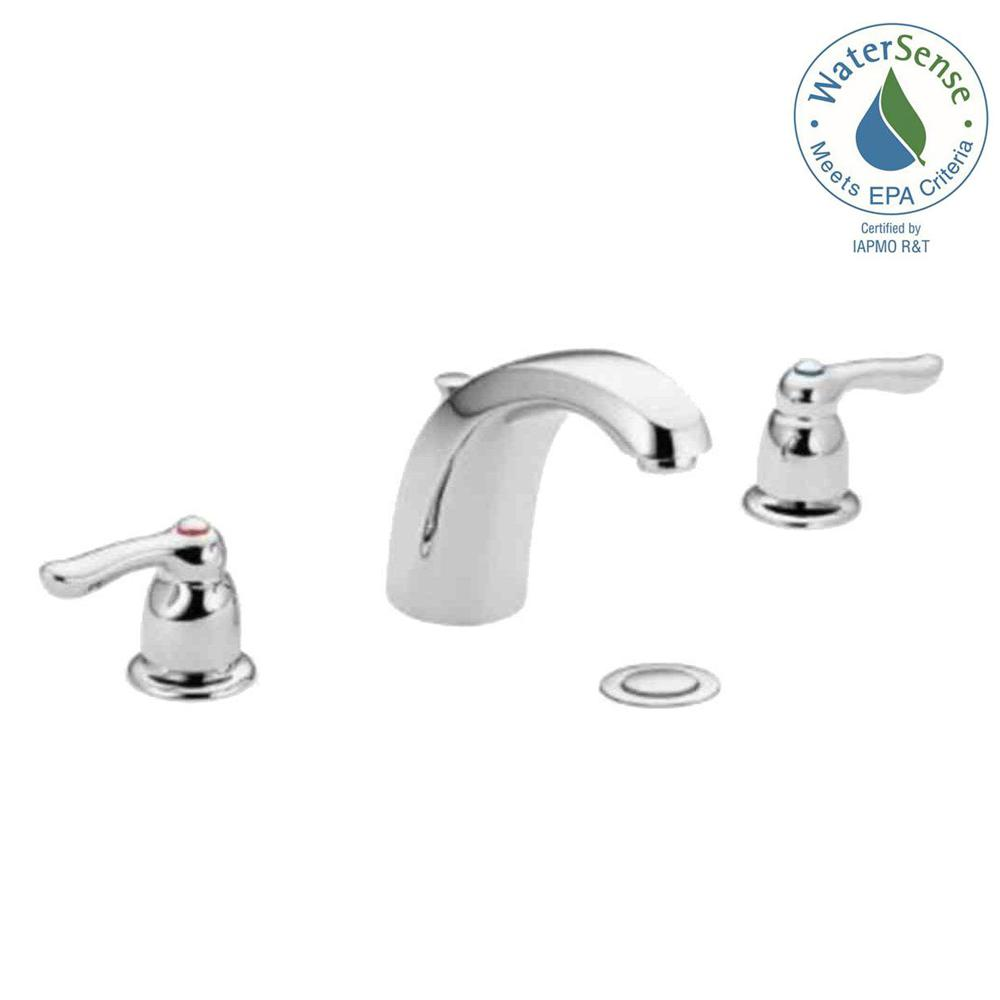 MOEN Chateau 8 in. Widespread 2-Handle Low-Arc Bathroom Faucet in ...