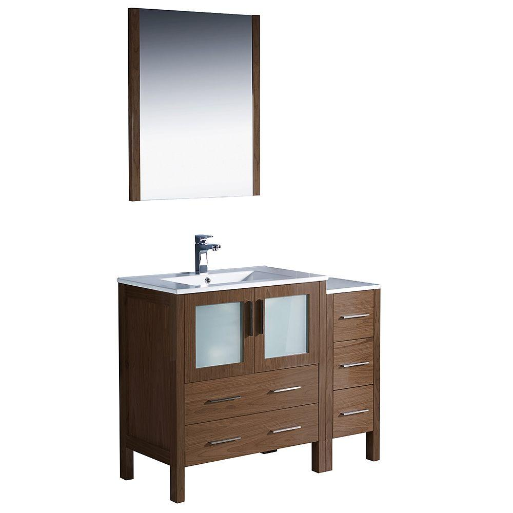 Fresca Torino 42 in. Vanity in Walnut Brown with Ceramic Vanity Top in White and Mirror