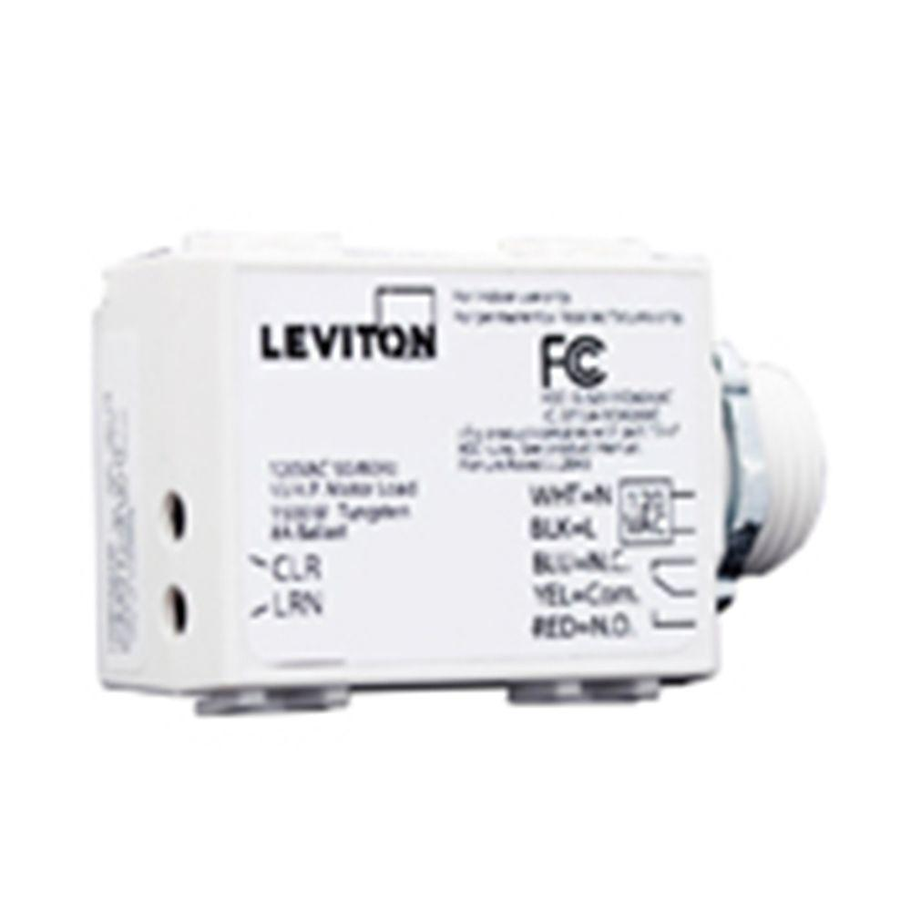 Leviton LevNet RF Enabled by EnOcean 240 Volt AC 5-Wire 3000 Relay Receiver with Threaded Mount - White-DISCONTINUED