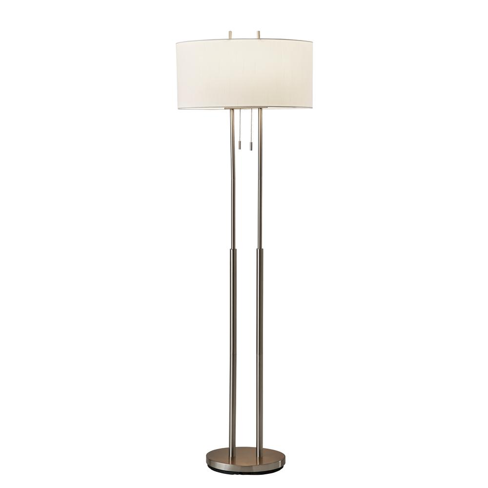 Adesso Duet 62 In Satin Steel Floor Lamp 4016 22 The