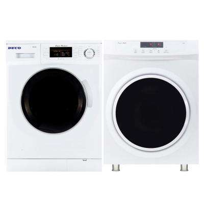 Super Washer and Compact Standard Dryer Set in White
