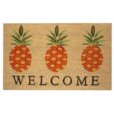 Perfect Home Pineapple Welcome Coir/Vinyl 18 in. X 30 in. Door mat-DISCONTINUED