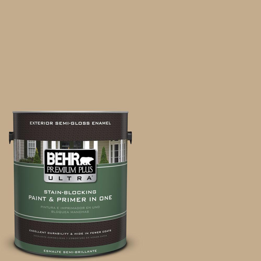 BEHR Premium Plus Ultra 1-gal. #PPU7-21 Woven Straw Semi-Gloss Enamel Exterior Paint
