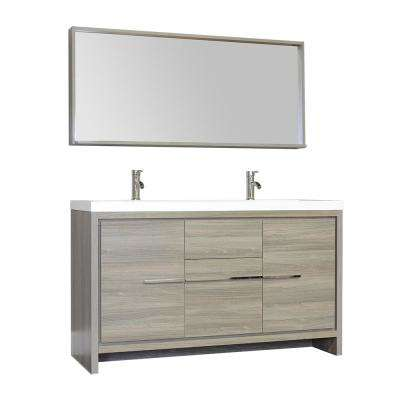 The Modern 56 in. W x 19.87 in. D Bath Vanity in Gray with Acrylic Vanity Top in White with White Basin and Mirror