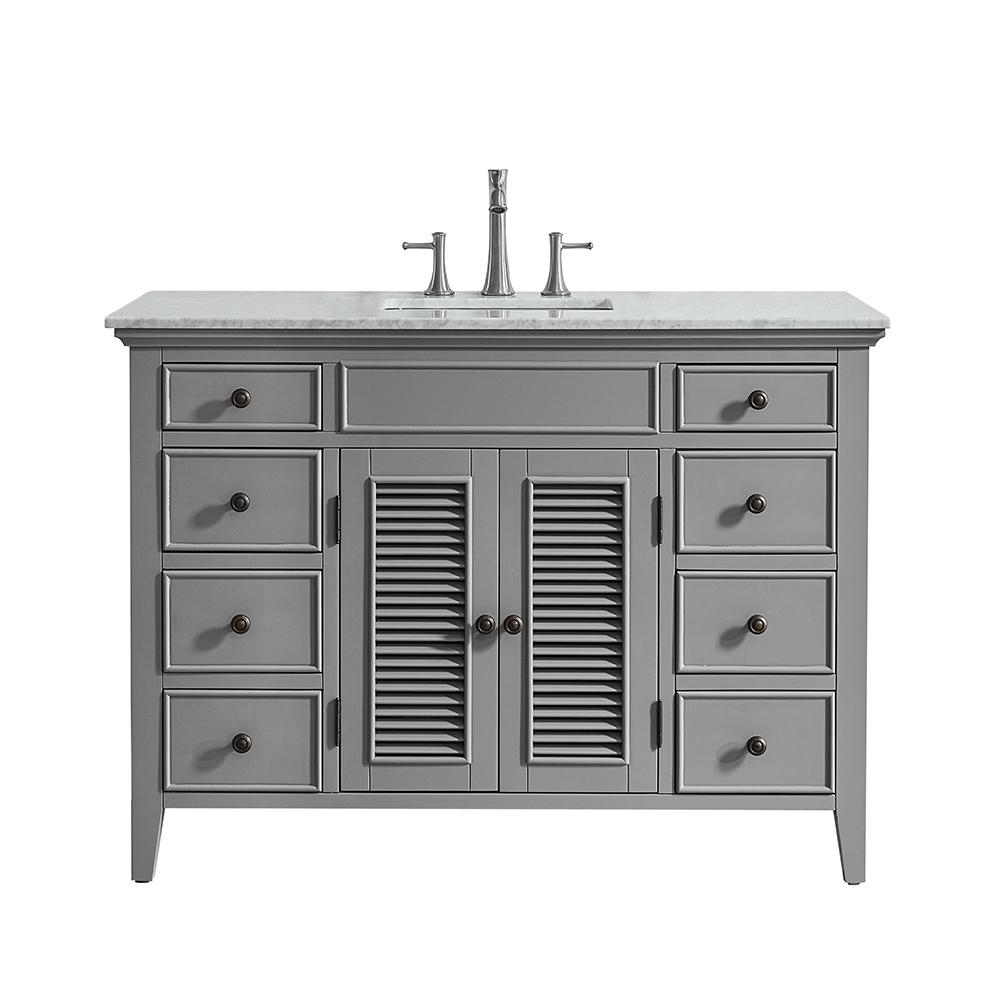 Vinnova Piedmont 48 in. W x 23 in. D Vanity in Grey with Marble Vanity Top in White with Basin