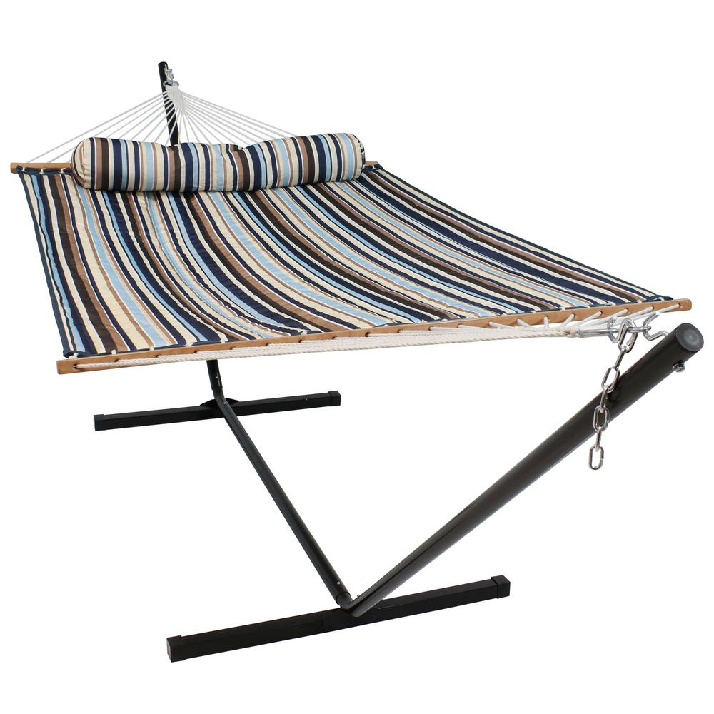 Sunnydaze Decor 10 34 Ft Quilted 2 Person Hammock With 12 Ft Stand In Ocean Isle