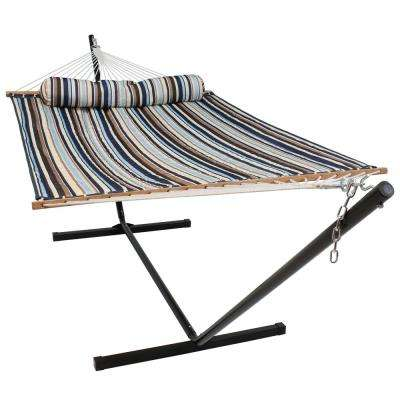 10-3/4 ft. Quilted 2-Person Hammock with 12 ft. Stand in Ocean Isle