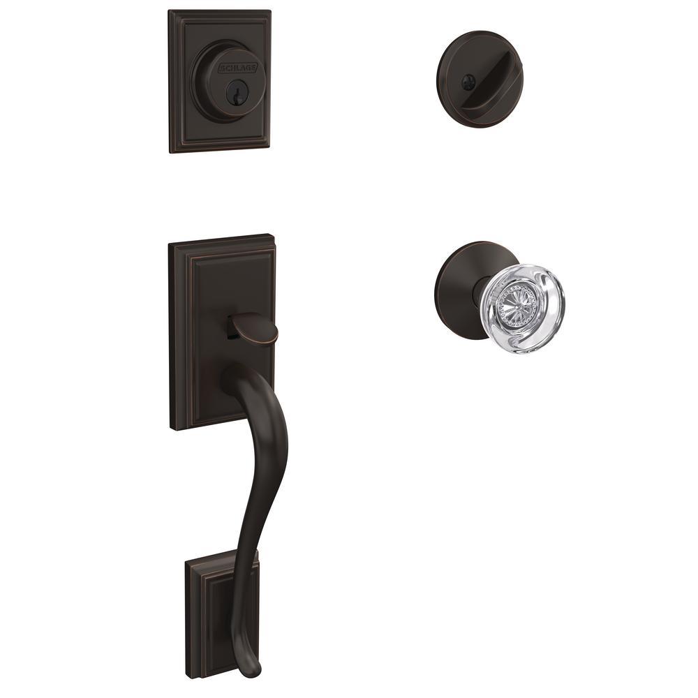 Schlage Custom Addison Aged Bronze Single Cylinder Door Handleset with Hobson Glass Door Knob
