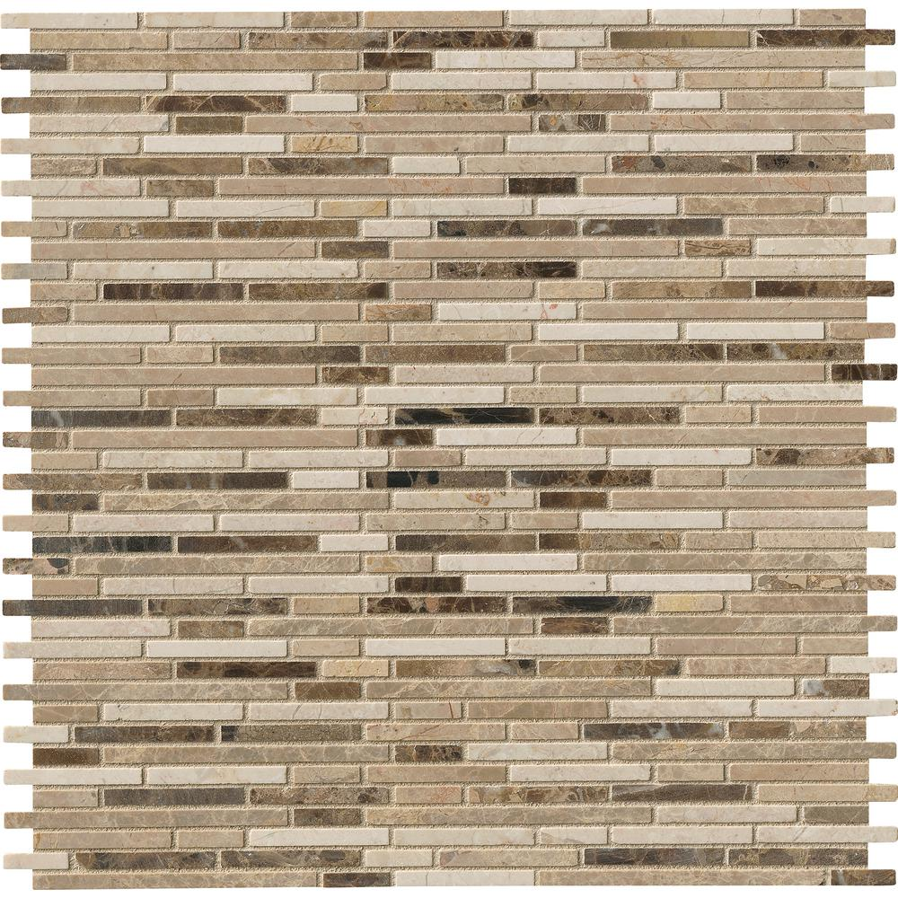 x 12 in MS International Emperador Blend Bamboo 12 in Brown Polished Marble Mesh-Mounted Mosaic Tile BOX OF 5 TILES