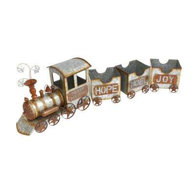 56.5inL Metal Galvanized Christmas Train Set with 3 Cars