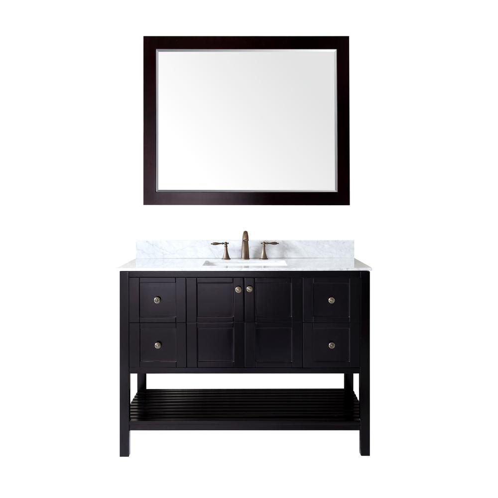Virtu USA Winterfell 48 in. Vanity in Espresso with Marble Vanity Top in Italian Carrara White and Mirror