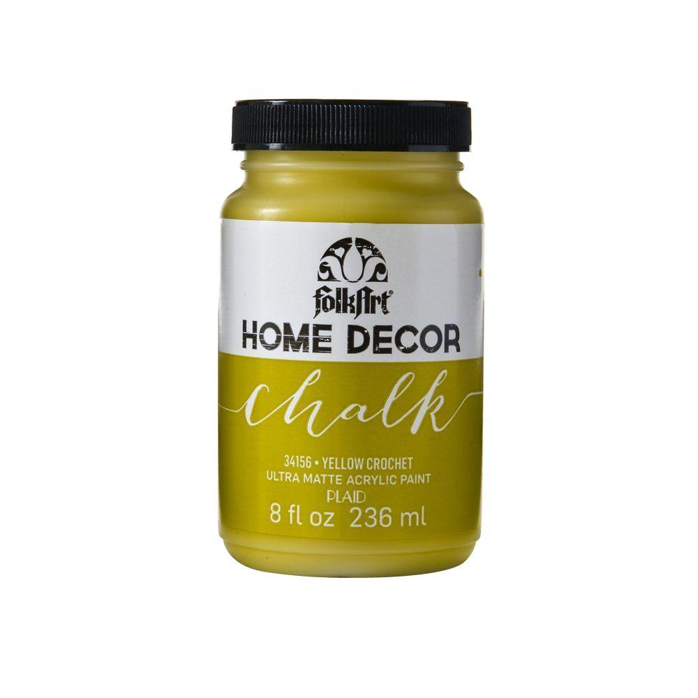 FolkArt Home Decor 8 oz. Yellow Crochet Ultra-Matte Chalk Finish Paint