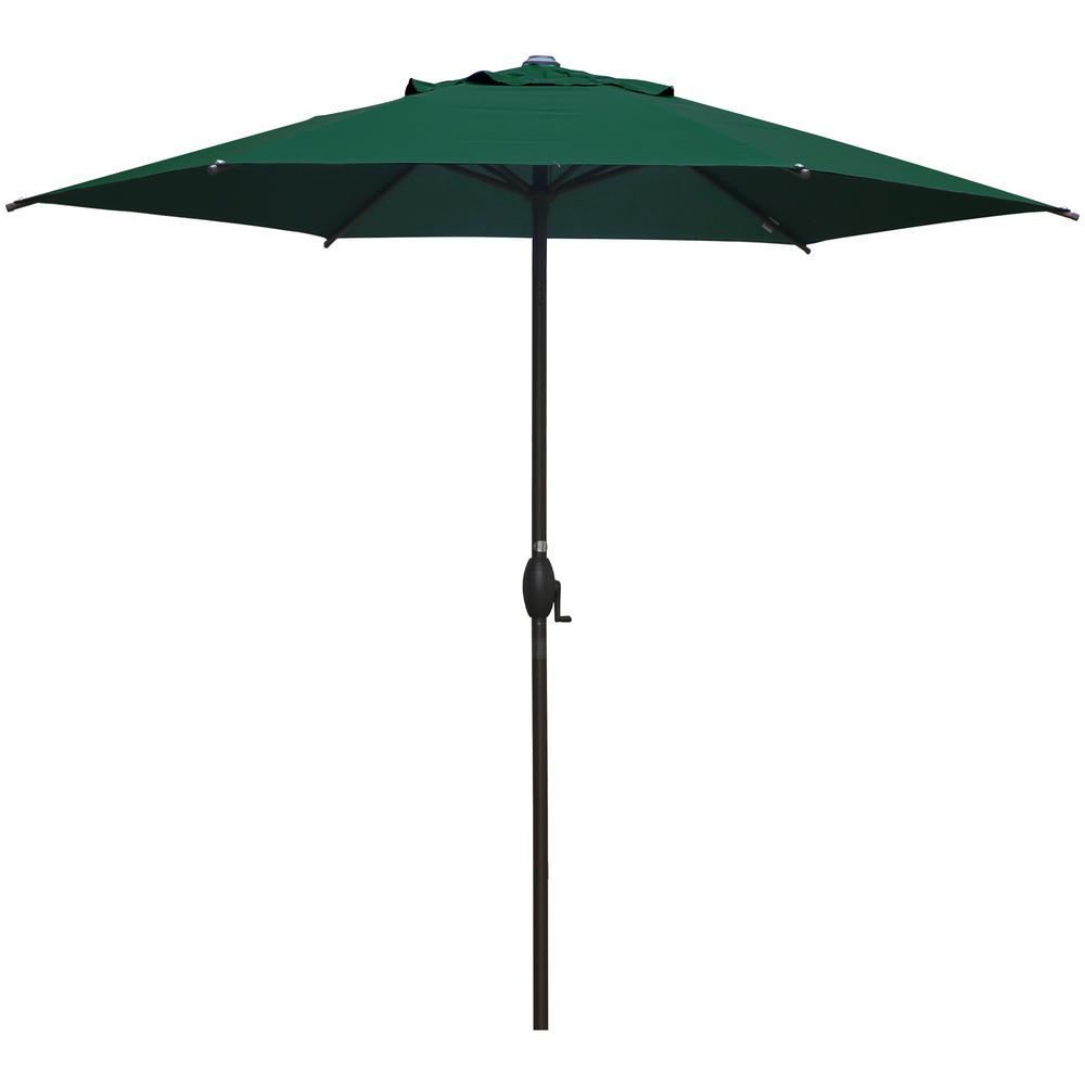 9 ft. Market Outdoor Patio Umbrella with Push Button Tilt and Crank in Dark Green
