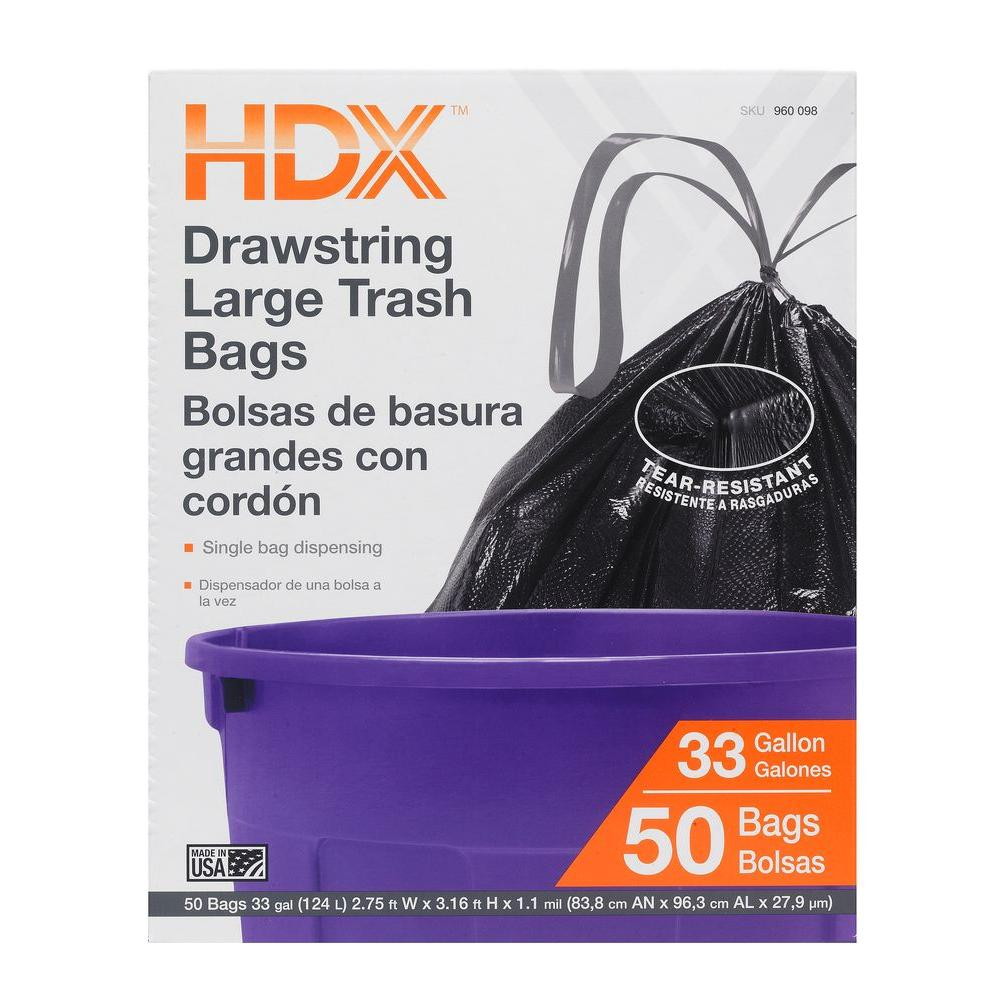 33 Gal. Large Trash Drawstring Black Trash Bags (50-Count)