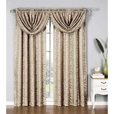 Dawson Shimmering Leaf 19 in. W x 44 in. L Waterfall Window Valance in Taupe