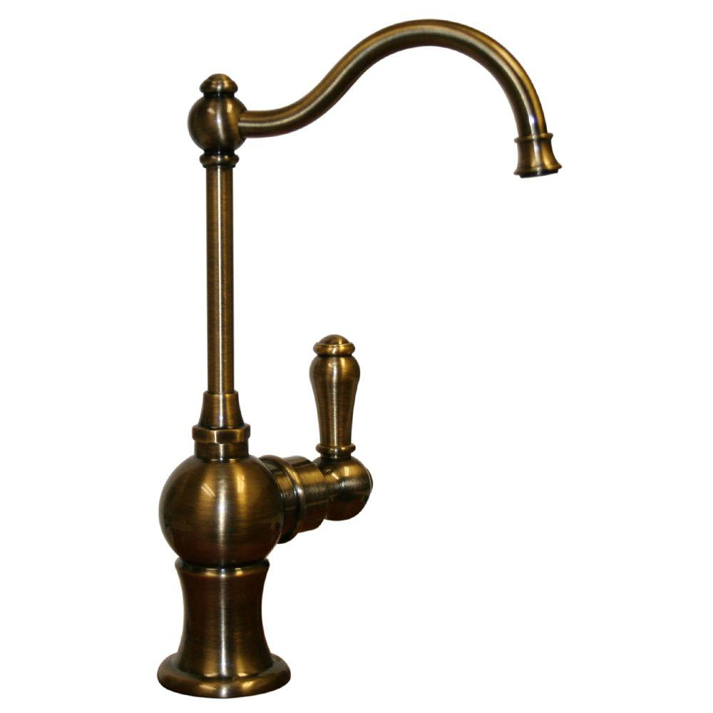Whitehaus Collection Forever Hot Single-Handle Point of Use Drinking Fountain Faucet with Traditional Spout in Antique Brass