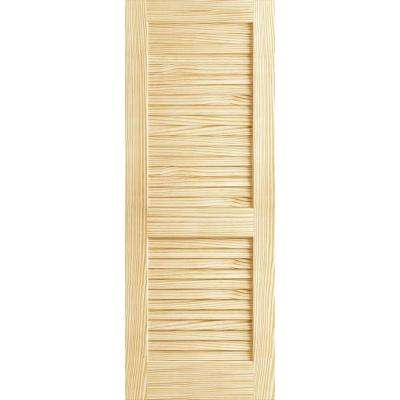 28 in. x 80 in. Unfinished Plantation Louver Louver Solid Core Wood Interior Door Slab