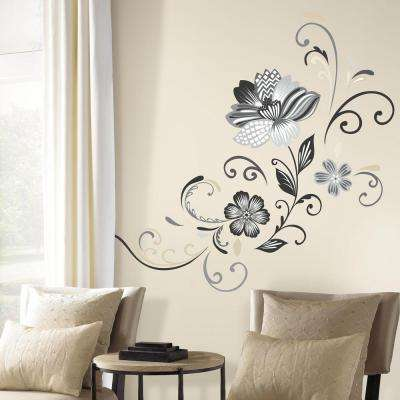 5 in. x 19 in. Black and White Flower Scroll 22-Piece Peel and Stick Giant Wall Decal